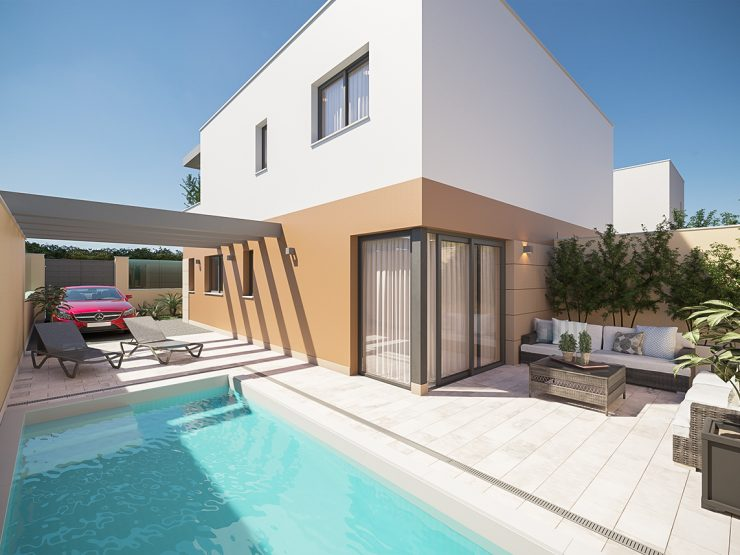 Semi-detached modern villa in San Pedro del Pinatar, Costa Blanca South, Alicante, Spain