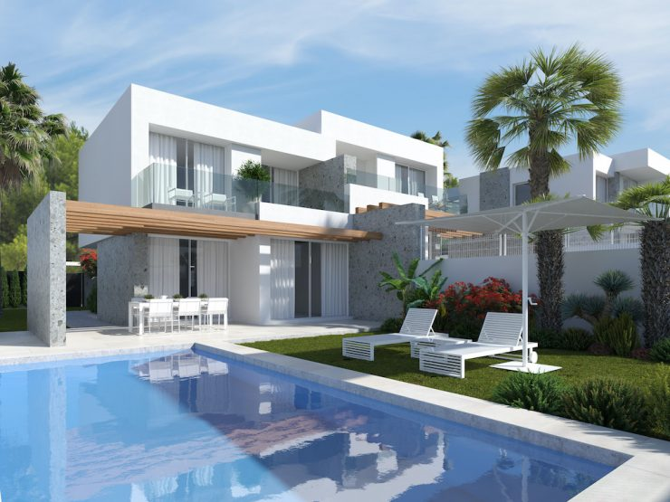 Minimalist semi-detached villa with sea views in Benidorm-Finestrat, Costa Blanca Nord, Alicante, Spain