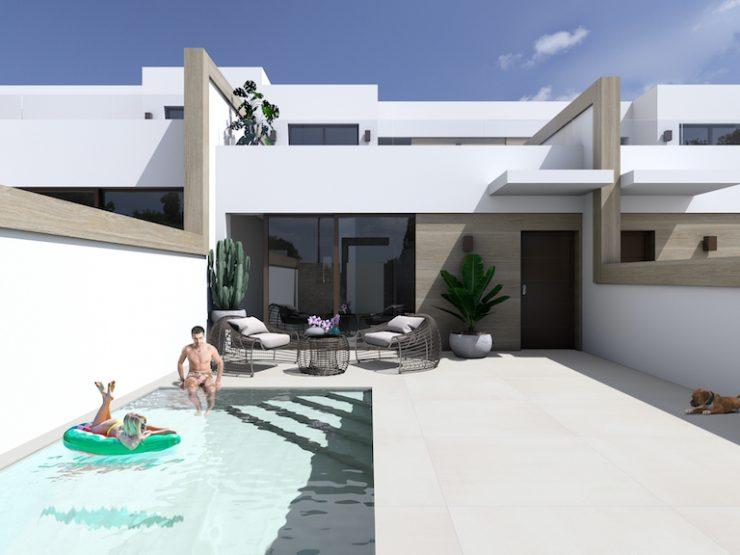 Attached modern villa with basement in Benijofar, Costa Blanca South, Alicante, Spain