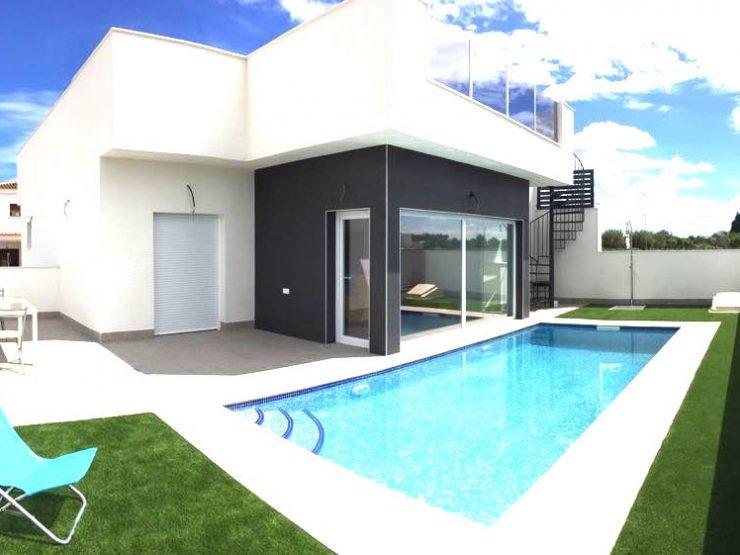 Minimalist corner semi-detached villa in Daya Nueva, Costa Blanca South, Alicante, Spain